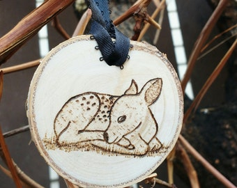 Personalized Baby's First Christmas Ornament, Birch Slice Ornament, Wood Burned Baby Deer Ornament, Baby Ornament, Rustic Wood Ornament