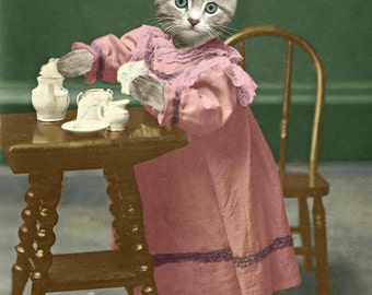 Catnip Tea Time, large original photograph of a kitten wearing a vintage dress and serving catnip tea