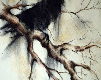 Original Charcoal Drawing Raven on a Branch Crow Dark Gothic Art Halloween Drawing 8x12""