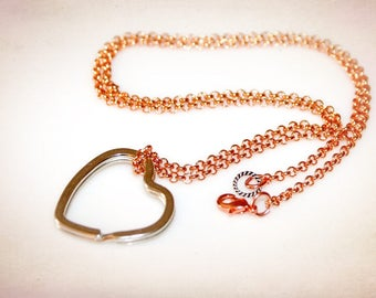 Two-Tone Heart Eyeglass Necklace - ID Lanyard. Rose Gold Copper & Silver