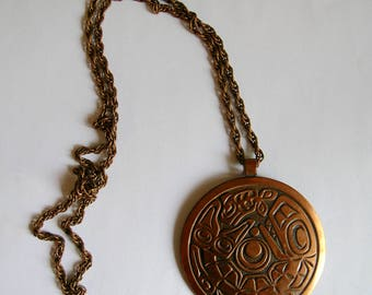 Vintage Solid Copper Large Tribal Disc Pendant on Long Copper Chain