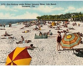 Vintage Florida Postcard - Sunbathing at Lido Beach in Winter, Sarasota (Unused)