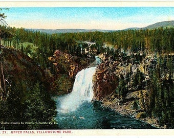 Yellowstone National Park Vintage Postcard - Upper Falls of the Yellowstone River (Unused)