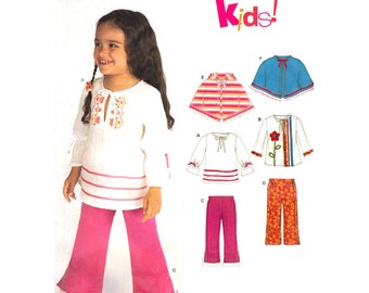 Girls Sewing Pattern Pullover Top Pants Hooded Capelet Open Poncho New Look 6526 Toddler Girls Size 1/2 1 2 3 4 UNCUT