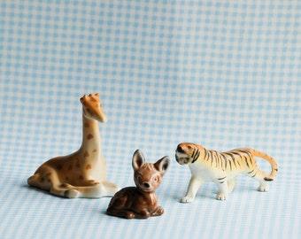 Tiger, Giraffe, Deer, Vintage Zoo Animales, Porcelain Cake Topper, Party Decor,  Zoo Safari, Cupcake Cake Topper, Animal Collection