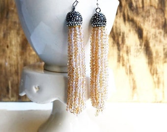 Gold Crystal Tassel Earrings Beaded Crystal Boho CZ Pave Earrings Tribal Bohemian