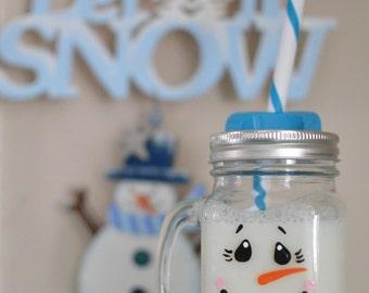 PERSONALIZED Mason Jar Mug w/ Lid & Straw, Custom Snowman Gift, Hand-Painted, Winter, Snow