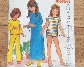 vintage 60s/70s butterick pattern 6851 child girls nightgown, pajamas and bloomers sz 5-6-6X fast and easy stretch knits only sleepwear