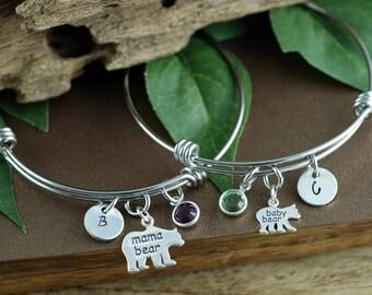 Mama Bear Bracelet, Hand Stamped Mom Bracelet, Baby Bear Bracelet, Bear Jewelry, Mother Daughter Bracelets, Gift for Mom, Mothers Day  Gift