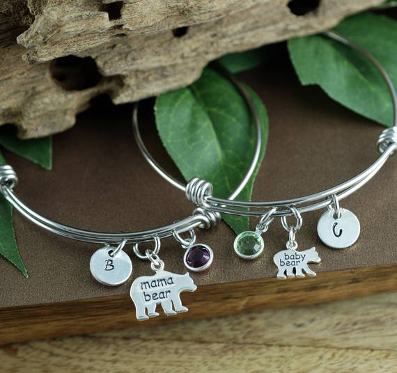 Mama Bear Bracelet, Hand Stamped Mom Bracelet, Baby Bear Bracelet, Bear Jewelry, Mother Daughter Bracelets, Gift for Mom, Mothers Day  Gift