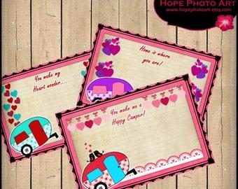 My Heart Wonder Happy Camper Valentine Digital Collage Sheet Postcards 4x6 retro tags greeting cards hearts love - U Print 300dpi jpg