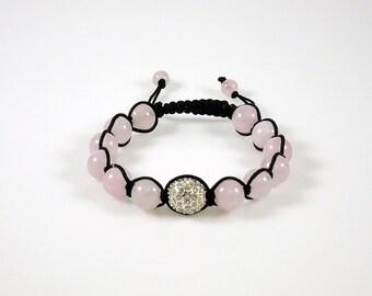 Rose Quartz and Pave Crystal Shamballa Bracelet
