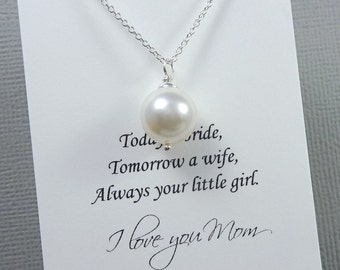 IvoryPearl Necklace, Mother of the Bride Gift Necklace, Mother of the Groom Gift, Ivory Pearl Wedding Necklace, Ivory Pearl Necklace
