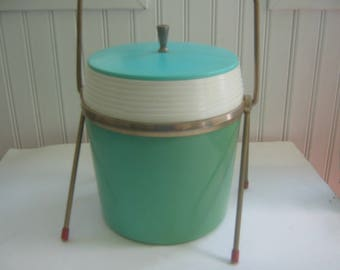 Vintage Modern Ice Bucket Turquoise with Stand Atomic Era