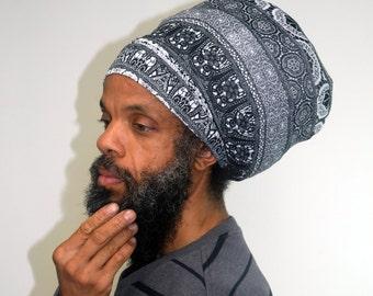 Men- Black & White Tribal Stretch Hat - Locs Hat - Rasta Hat - 5 Length Options
