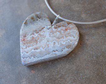 Lace Agate heart pendant necklace - unique handmade natural stone jewelry - large heart jewellery