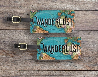 Luggage Tag Set Wanderlust Map Metal Luggage Tag Set With Printed Custom Info On Back, 2 Tags Choice of Straps