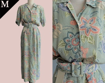 Vintage 80s Hong Kong Batik Silk Belt Maxi Shirt dress / Mint Pastel Pink / Medium