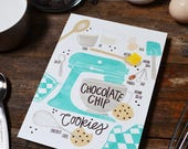 Chocolate Chip Cookies, Customize colors, Recipe Illustration, Kitchen Decor, Kitchen Art, Wall Art, Bakery Art, Bakery Sign, Poster, Baker