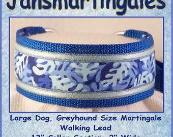 Jansmartingales, Blue Walking Lead, Dog Collar and Lead Combination, Greyhound, Large Dog Size, Blu127