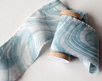 Tide Water Marbled Silk Ribbon