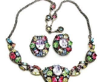 Hollycraft 1955 Pastel Necklace and Earrings Set Demi Parure