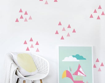 Wall Decal Pink Triangle Baby Nursery Wall Decal Kids Wall Decal Modern Nursery Wall Decal. Little Peaks Children Wall Decal