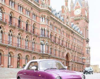 London Photograph - Purple Figaro, Classic Car Photo, London Taxi, England Fine Art Photograph, Large Wall Art