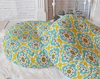 Boho Floor Pillow // Round and Square Sizes // Yellow Aqua Geometric // Mattonelle Design // Boho Style // Dorm Decor // Modern Home Decor