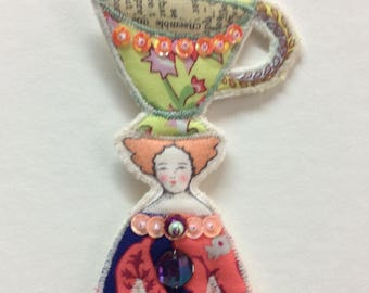 Fabulous Flat Doll Ornament With A Large Teacup On Top Of Her Head Handmade Embellished Textile Art Doll Fabric Ornament