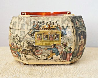 Decoupage Handbag Wooden Flip Top Acrylic Lucite Handle Anton Pieck