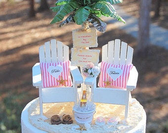 """Beach Wedding Cake Topper SALE! Base Attached Fits 6"""" Honeymoon Beverage Custom Made To Order Your Colors Rustic Destination Wedding"""