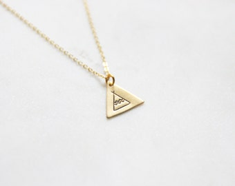 Gold Brass Stamped Tee Pee Necklace My Tribe Necklace  Bohemian Southwestern Necklace Aztec Indian Necklace - New Mexico