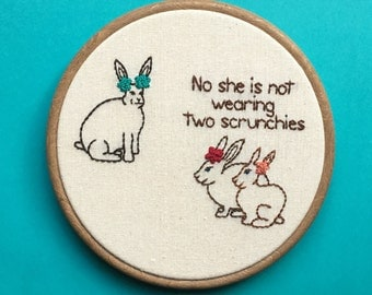 "Middle School Bunnies Hand Embroidery - 7"" Hoop"