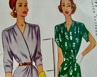 UNCUT * 1940's McCall  Pattern 7297  * Ladies' Two-Piece Suit Dress Surplice Bodice * FACTORY FOLDED  - Size 20 - Bust 38