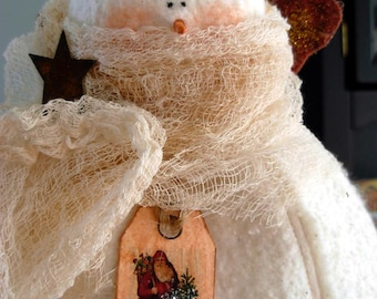 Snowman Angel Tree Topper|Christmas Tree Topper|Primitive Snowman Tree Topper