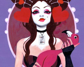 "DISCOUNT: ""The Queen Wore Red"" Queen of Hearts 11x14 Print"
