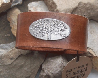 Tree of Life Leather Bracelet, Tree Cuff, White Copper Tree, 7th 3rd Anniversary Gift, Gift for Her Him, Christian Gift, Unique Bracelet