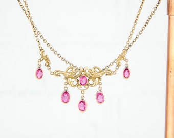 Antique 10k Gold Edwardian Necklace | Antique Edwardian 10k Necklace | Antique 10k Gold Necklace | Festoon Necklace