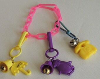 1980s Plastic Charm Bracelet 3 Charms Russ JAPAN