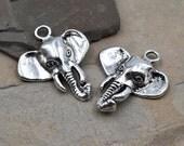 Elephant Charms, 8pcs, 22mm, Silver Elephant Pendant, Animal Charms - C122