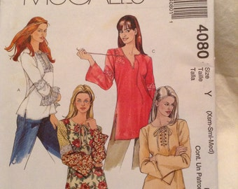 Misses Tunic Top McCall's Sewing Pattern 4080 Women's size Xsm SM Med DIY sewing