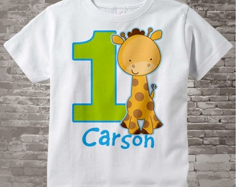 Personalized FIrst Birthday Giraffe Tee Shirt or Onesie with blue and green colors, 1st Birthday Giraffe tee, Safari Theme (01072013a)