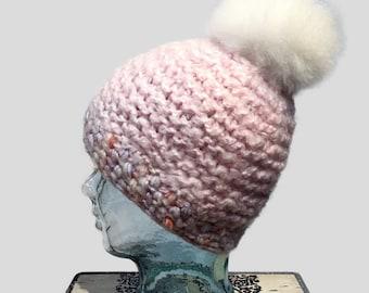 Light pink Wool Hat with Alpaca Fur Pompom, Pink Knit Hat, Slouchy Cap with Pompom/Warm Winter Hat/Pink Slouchy Beanie with White Fur Pompom