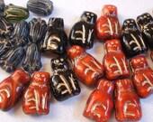 62 Beads Czech Cats Red Kitty Black Kitties  Little Ball of Fur... Olivine Flowers Gold Highlights Glass Bead Lot