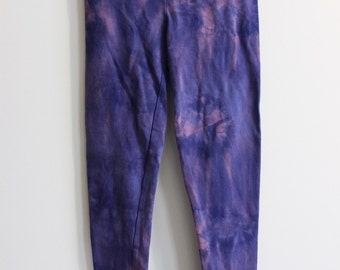 Children's Girls 11/12 Purple and Pink Tie Dye Leggings