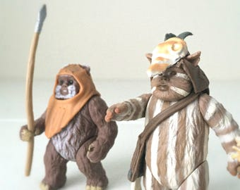 Vintage Star Wars Ewoks Wickett & Logray, 90s Star Wars Action Figures in Original Packaging, Return of the Jedi, Fathers Day Gift, For Kids