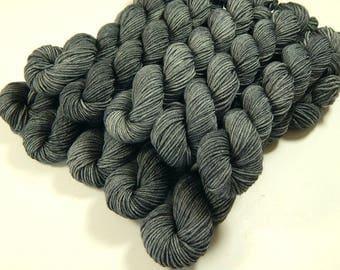 Mini Skeins - Hand Dyed Yarn - Sock Weight 4 Ply Superwash Merino Wool Yarn - Pewter - Knitting Yarn, Sock Yarn, Semi-Solid Gray Grey Tonal