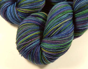 Hand Dyed Sock Yarn - Sock Weight 4 Ply Superwash Merino Wool Yarn - Ink Multi - Knitting Yarn, Fingering Yarn, Blue Green Purple, DIY Gift