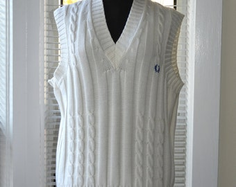 Vintage 80s/90s Fred Perry - Cable Knit Sweater Vest - Mens s/m - Womens m/l